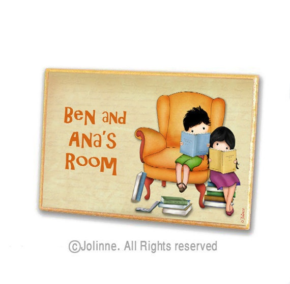 Kids reading door sign, personalized door sign, children art