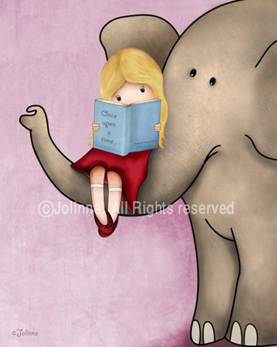 Posters of elephant for the nursery, Wall art print for girl bedroom,Girls Bedroom Reading Books Wall Art Library Wall Art Print Decoration