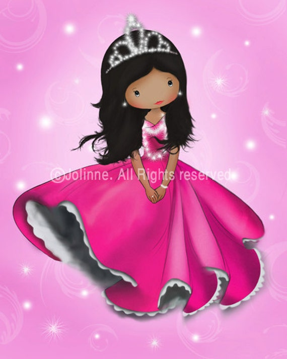 African american princess wall art print, poster for girls room, princess girls room decor,pink wall art baby room,wall hanging,personalized