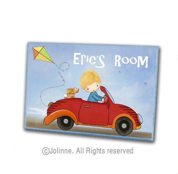 Personalized kids art, Boy in red car nursery wood plaque, Custom name door hanger, boys room sign, boys nursery sign,kids room sign