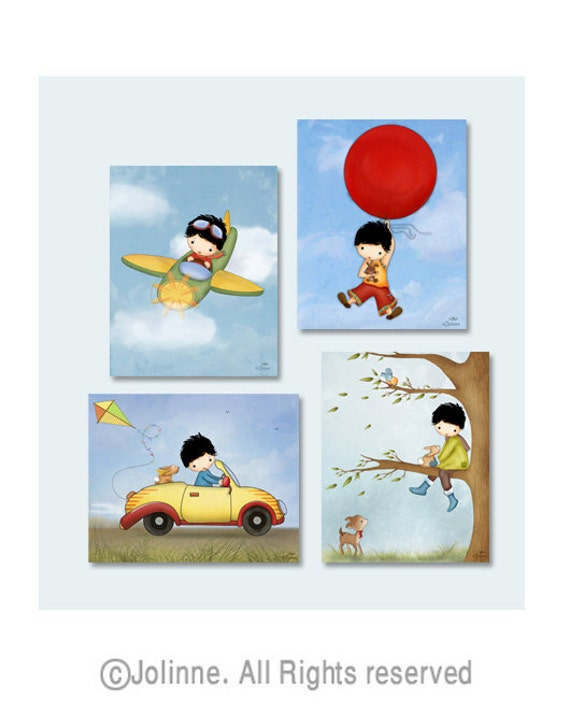 Children room wall art, boys nursery decor, kids wall art, airplane, car, etsy art, set of 4 for a special price