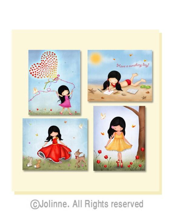 Girls wall art, nursery wall art,kids room art,prints illustrations,playroom art,nursery art girl,illustrations,set of 4 art prints posters