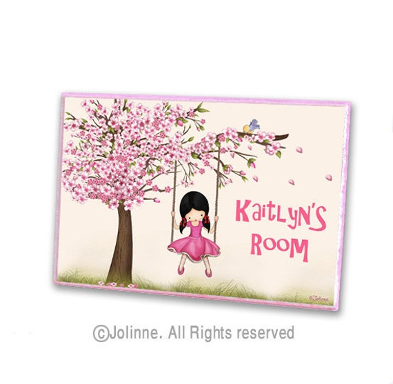 Cherry blossom tree personalized door sign kids room by for Kids room signs
