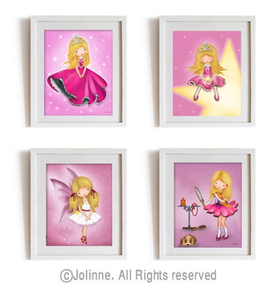 children wall art, Sale, Girls room art prints, baby girl nursery art,  princess, ballerina, blond hair girl, children decor, set of 4