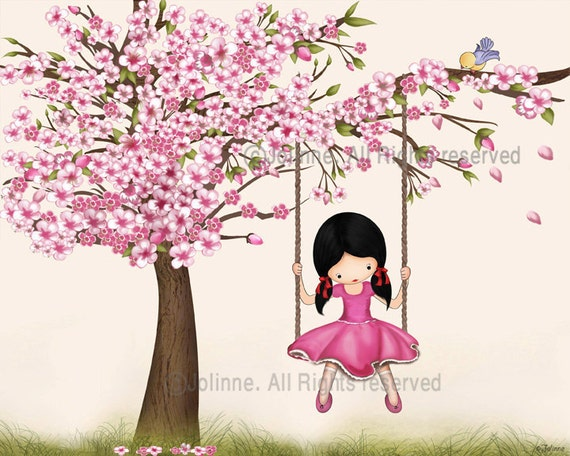 Cherry blossom tree wall art print, girls room decor, nursery wall art, girl swings, nature inspired spring children art, kids wall art