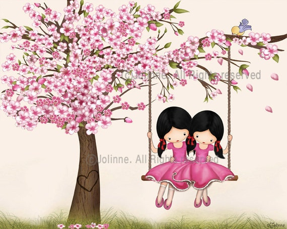 Cherry blossom art, sisters wall art, art for girls room, kids wall art, print , Children wall decor, sisters by heart, drawing illustration