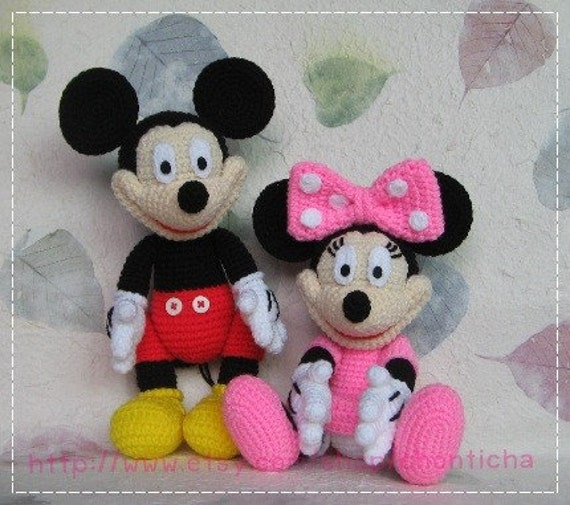 Mouse and minnie mouse 10 inches pdf amigurumi crochet pattern