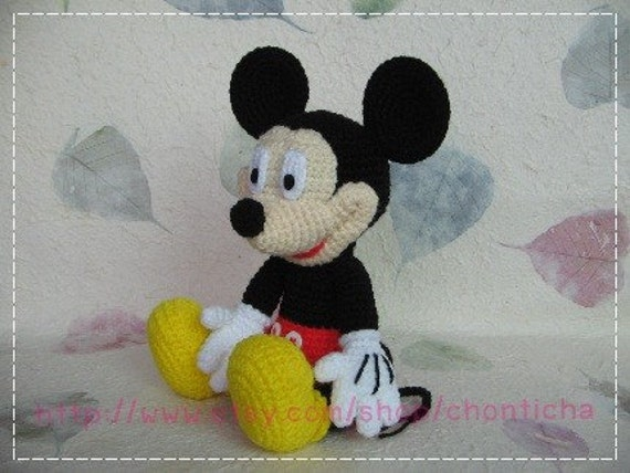 Mickey mouse 10 inches PDF amigurumi crochet pattern