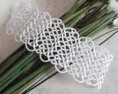 Wedding Lace Cuff , Celtic , White Tatting - Rhiannon - Small