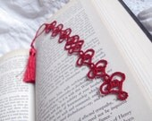 Red Lace Heart Bookmark in Tatting - Valencia