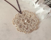 Victorian Inspired Lace Pendant in Tatting - Rosetta - TataniaRosa