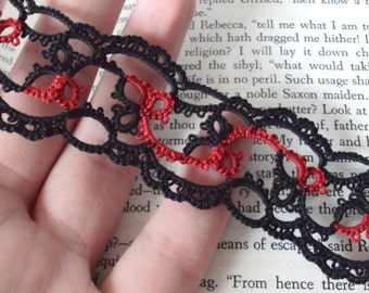 Gothic Lace Bookmark in Tatting - Emily