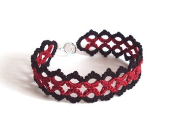 Black , Red Lace Bracelet in Tatting , Goth Halloween - Marie