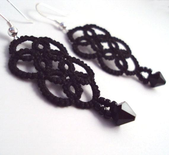 Tatted Gothic Earrings - Elaine