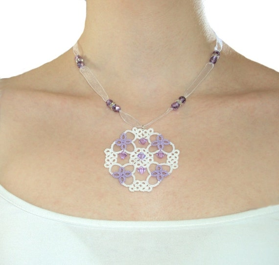 Bridal Necklace - Helena in white and lilac