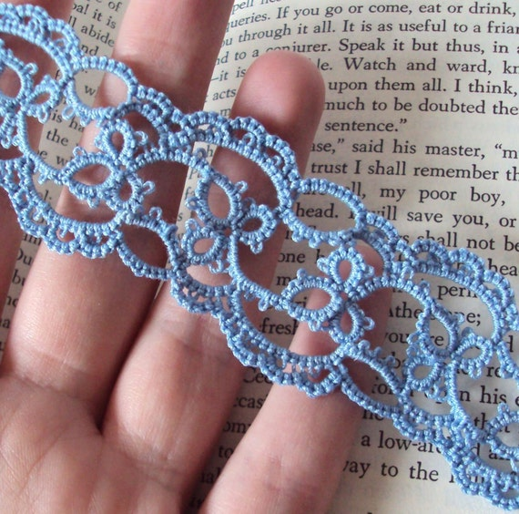Lace Bookmark in Tatting - Emily in blue