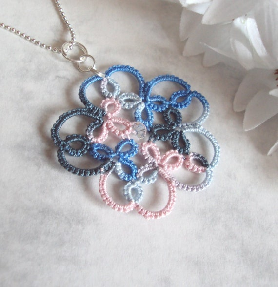 Tatted Flower Pendant - Isabella - One Of A Kind