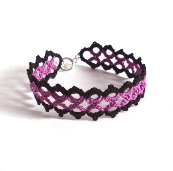 Gothic Lace Bracelet in Black , Purple Tatting - Marie