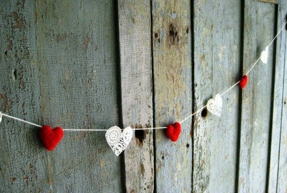 Wool & Paper Lace Heart Garland