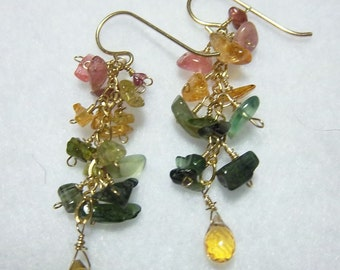 LIQUIDATION SALE =======  14K GF Citrine and Tourmaline Earrings
