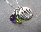 Lotus flower Silver Pendant with Peridot and Amethyst