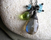 Wire wrapped Labradorite, Peridot and ApatitePendant in oxidized Sterling