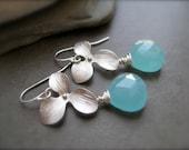 Sea foam Blue Chalcedony Flower Silver Earrings