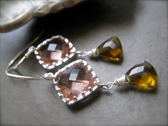 Smokey topaz and rose Earrings in silver