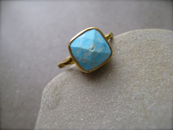 Arizona Sleeping Beauty turquoise  Gold Vermeil Ring - size 7