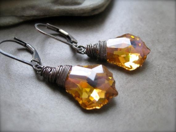 Oxidized Sterling Baroque Swarovsky Crystal Drop Earrings