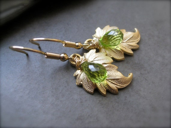 Peridot Gemstone Earrings with Gold Leaf, gift for her, petit jewelry