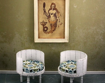Doll House Wall Hanging - Antique Mermaid Print - Creme Frame