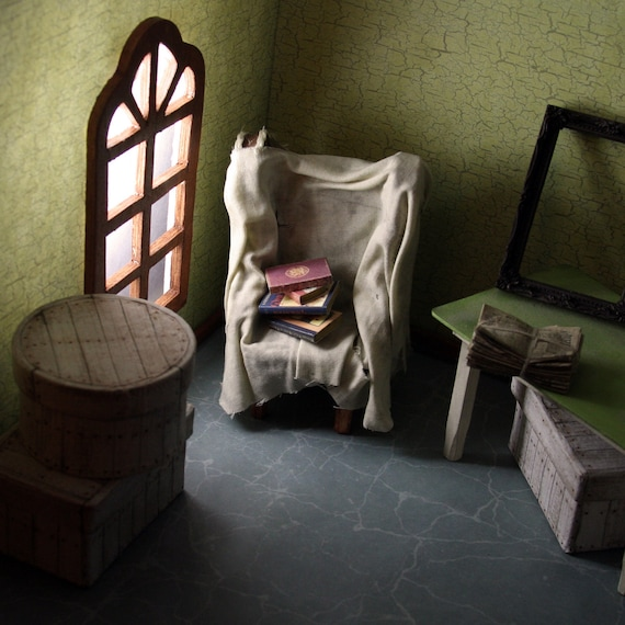 Doll House Miniature - Old Covered Attic Chair - 12-02-004