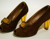 Lucite heel brown suede pumps, 1940s