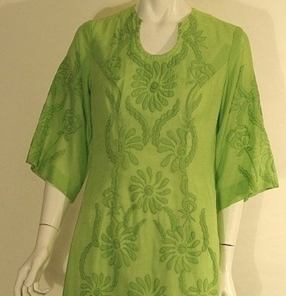 Late 1960s - early 1970s embroidered green cotton Moroccon style caftan