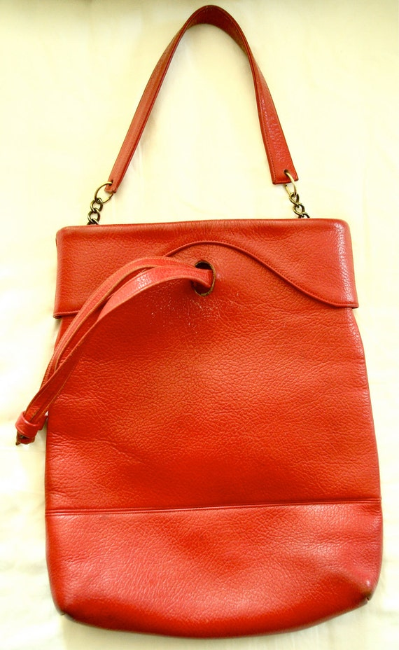 Red leather shoe bag, 1950s