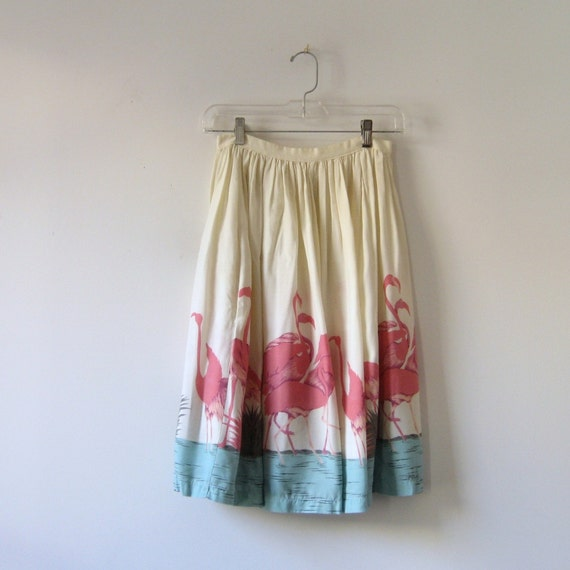1950s Flamingo Printed High Waisted Skirt