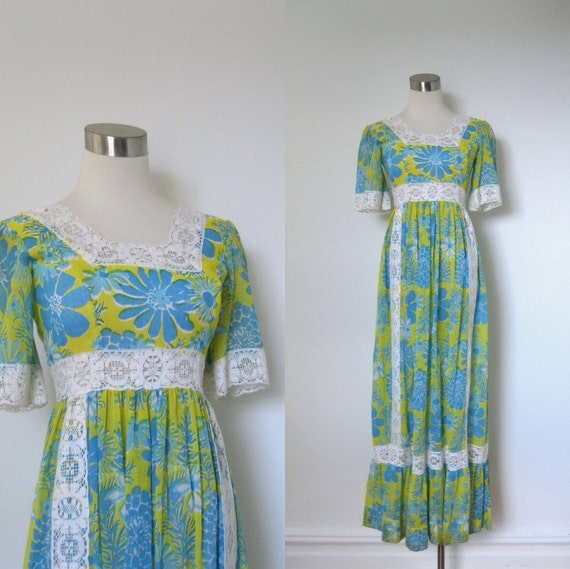 Reserved....Lilly Pulitzer Dress / 1970s Blue and Yellow Floral Maxi Dress / Lace Trim (small S)