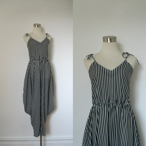 1980s Jumpsuit / 80s Black and White Striped Romper / Avant Garde (small medium)