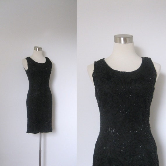 SALE-Beaded Dress / 1980s Black Sequined Mini Dress / Body Con (XS small)