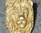 14K Yellow Gold Lion Pendant, Yellow Diamond, Handmade by TigerPawStudios on Etsy
