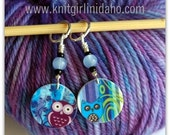 Purple and Blue Owl Stitch Markers (Set of 2)