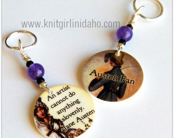Jane Austen Quote Charm Stitch Markers (Set of 2)