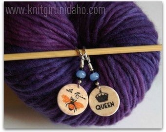 La Reine Long Live The Queen Bee Stitch Markers (Set of 2)