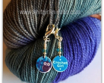Mini Removable Crochet Girl and Whimsical Owl Stitch Markers (Set of 2)