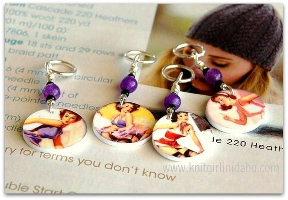 Pinup Charm Stitch Markers (Set of 4)