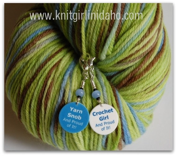Removable Crochet Girl & Yarn Snob Stitch Markers (Set of 2)