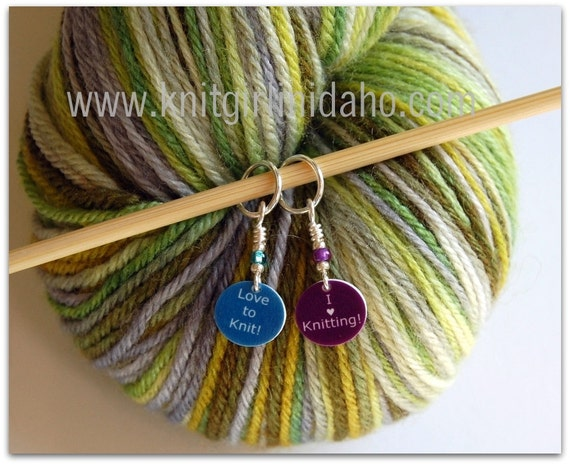 Mini Stitch Markers: I heart Knitting and Love to Knit Stitch Markers (Set of 2)