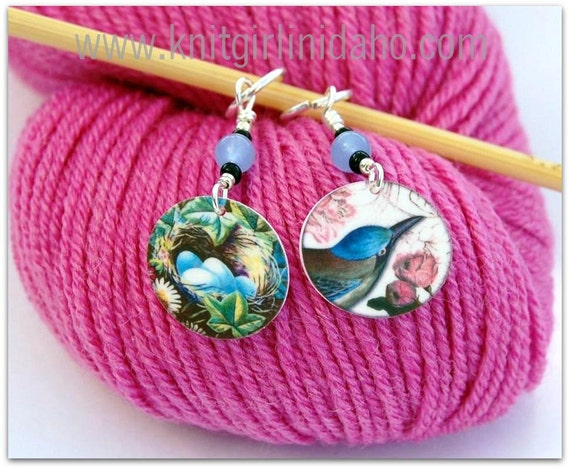 Bird & Nest with Eggs Charm Stitch Markers (Set of 2)