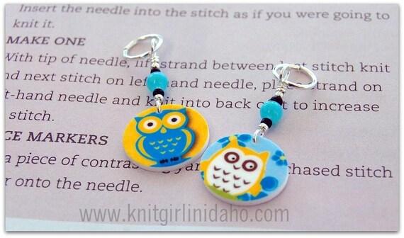 Owl Charm Stitch Markers (Set of 2)